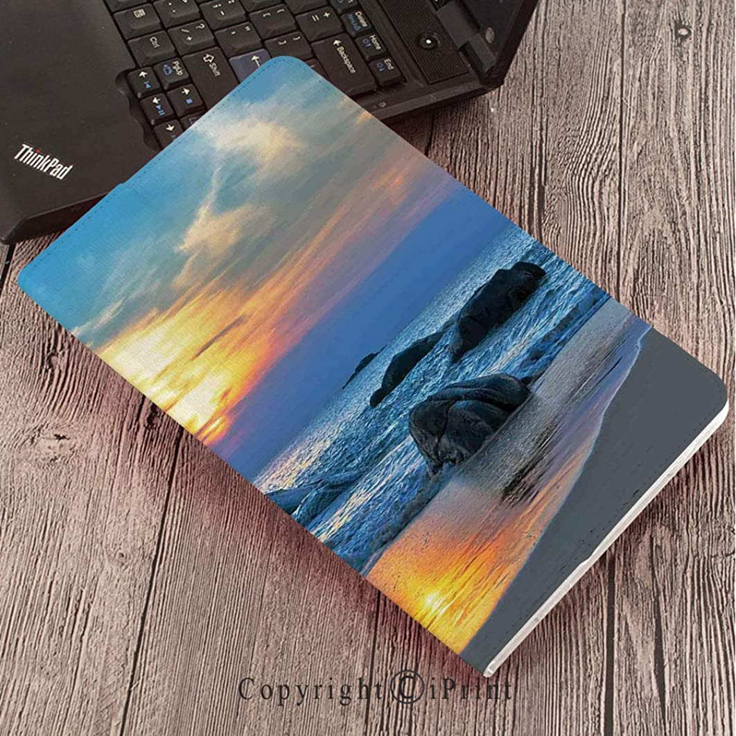 Samsung Tab S3 9.7 SM-T820 SM-T825 Tablet Case Protective Cover Crystal Case,Seaside Decor,Sunset Scenery in Sandy Beach with Rocks and Waves Lonely Peace Morning Dream on Earth,Blue Yellow