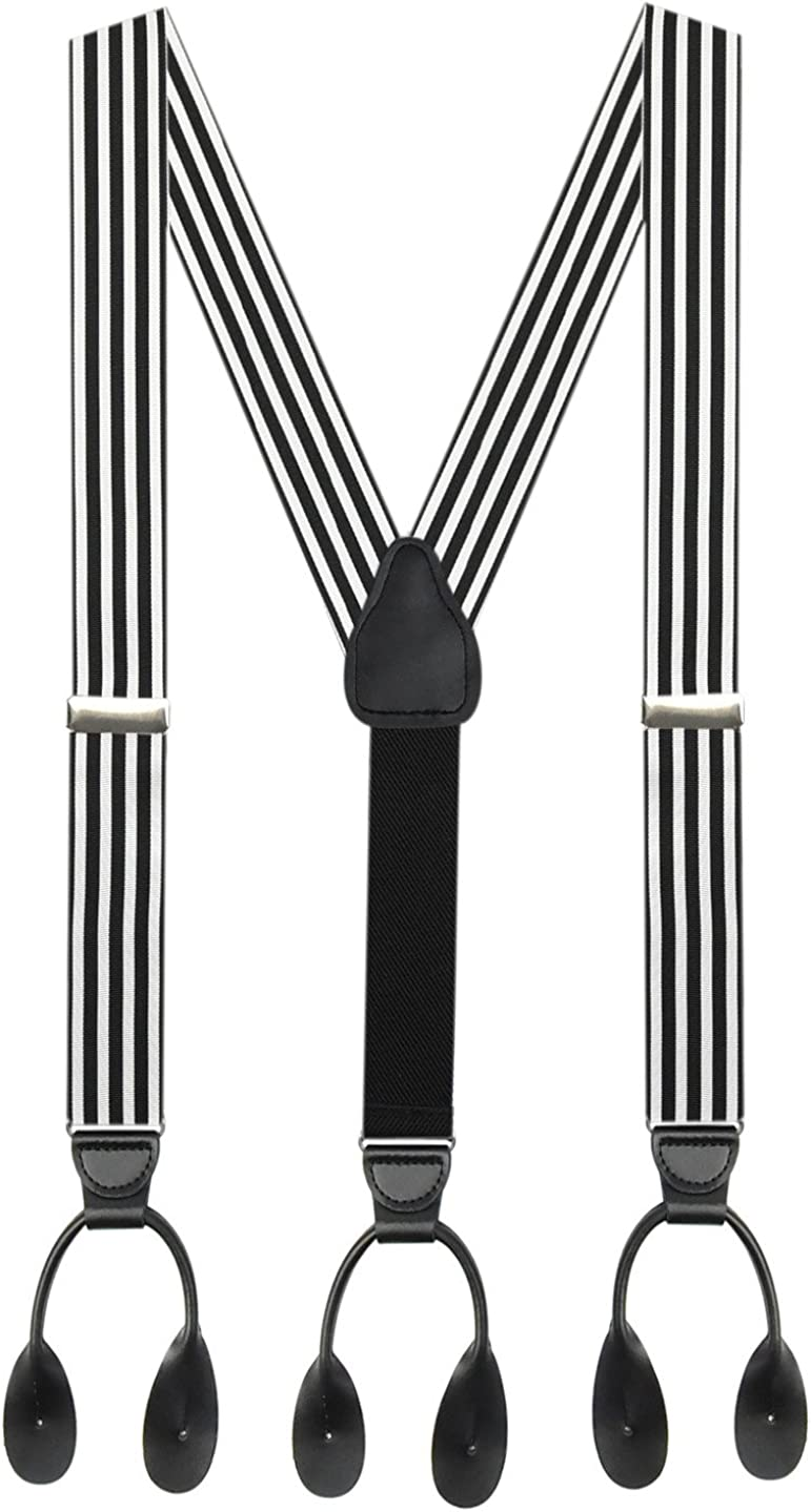 Suspender for Men MADE IN USA – Y-Back Genuine Leather Trimmed Button End Non-Stretch Tuxedo Suspenders
