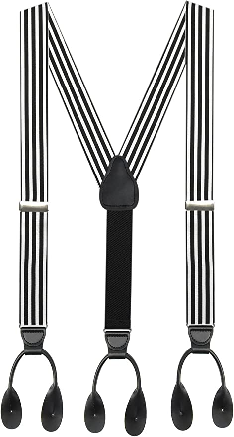 Edwardian Men's Fashion & Clothing 1900-1910s Suspender for Men MADE IN USA – Y-Back Genuine Leather Trimmed Button End Non-Stretch Tuxedo Suspenders  AT vintagedancer.com