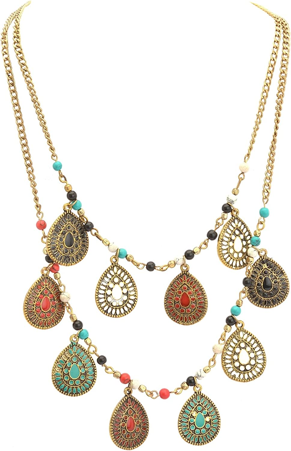 Zephyrr Fashion Multi Strand Casual Necklace Meenakari with Beads for Girls and Women