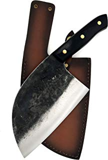 KOPALA Kitchen Knife Cleaver Full Handmade High Carbon Steel Chef Knife with Leather Sheath Case