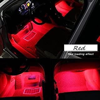 Car Interior Lights, EJ's SUPER CAR 4pcs 36 LED DC 12V Waterproof Atmosphere Neon Lights Strip for Car-Car Auto Floor Lights,Glow Neon Light Strips for All Vehicles (Red)