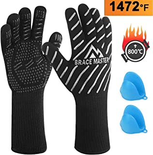 Brace Master BBQ Gloves 800℃ Heat Resistant Gloves with Small Oven Mitts in-Pack for Grilling Oven and Barbecue (L, Silver)