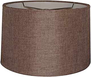 12x14x10 Chocolate Burlap Hardback Drum Lampshade with Brass Spider Fitter by Home Concept - Perfect for Table and Desk Lamps - Medium, Brown