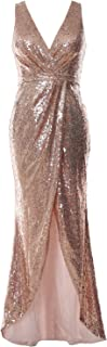 Women V Neck Sequin Long Bridesmaid Dress Wedding Formal Evening Gown