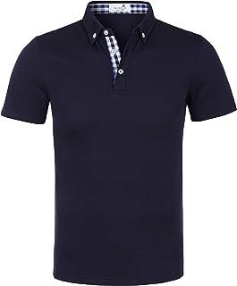 Marojo Men's Polo Shirt Short Sleeve Plain Check Patchwork Summer T-Shirt