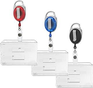 Karteo® Porte-badge pour 2 cartes horizontalement avec enrouleur rétractable noir et mousqueton et clip