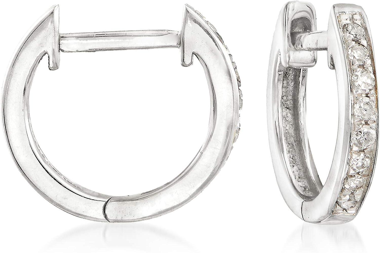Ross-Simons 0.10 ct. Safety and trust t.w. Diamond Huggie 14kt Earrings W Hoop in 4 years warranty