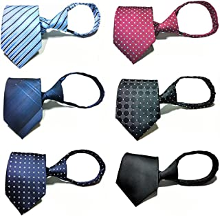 Zipper Ties for Men 6 PCS Pre-tied Necktie Mixed Lot By Tiger Mama