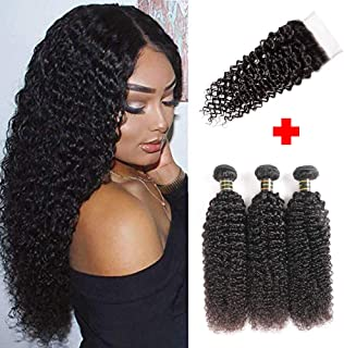 Aodai Hair Brazilian Virgin Curly Hair Weave 3 Bundles with Lace Closure Free Part 4x4 8A 100% Unprocessed Brazilian Kinky Curly Hair Weave Bundles Natural Color (14 14 14+12)