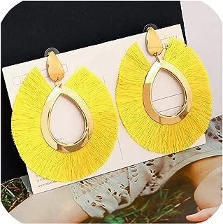Bohemian Statement Big Tassel Earrings Red Yellow Green Silk Fabric Drop Dangle Earrings
