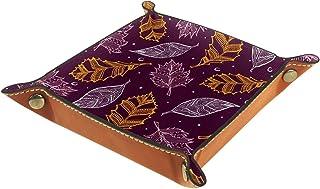 ATOMO Plateau de rangement en cuir avec feuilles jaunes et fond violet - Pour clés, bijoux, articles divers, objets de che...