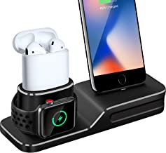 Charging Stand Compatible with Apple Watch, 3 in 1 Charging Station Silicone Compatible with Apple Watch Series 1/2/3/4, Airpods, iPhone Xs/Xs Max/Xr/X/8/8 Plus/7/7 Plus/6 (Not Include Cable/Adapter)