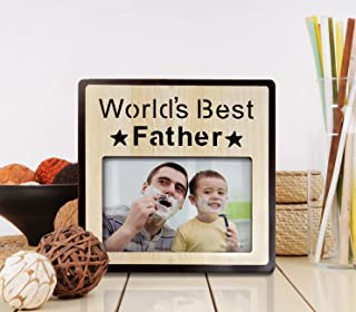 Art Street Wood Engraved Personalized World's Best Father Photo Frame, Picture Frame - for Christmas Fathers Day Birthday ...