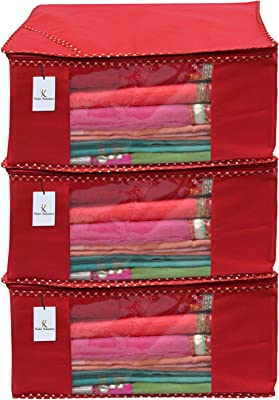 Kuber Industries 3 Piece Non Woven Saree Cover Set, Red,Large Size -CTKTC6440