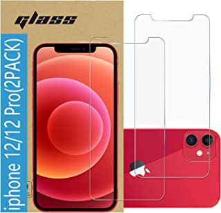 (2 Pack ) Amuoc Tempered Glass Film for Apple iPhone 12 Screen Protector and iPhone 12 Pro Screen Protector, Anti Scratch, Bubble Free