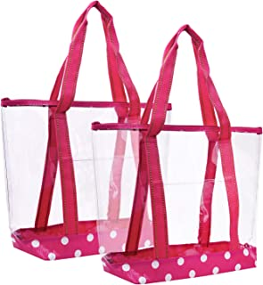 VENO 2 Packs Large Clear Bag, Transparent Vinyl PVC Tote Bag, Long Shoulder Handbag with Zipper Closure for Stadium, Event, Outdoor, Beach, Pool, Work, Sports Games, Shopping, Grocery One Size Pink