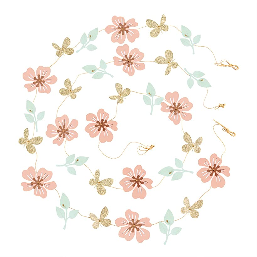 Ling's moment 13FT Paper Butterfly Flower Leaves Garland, Set of 2, Hanging Flower Backdrop Garland for Baby Nursery Birthday Party Wedding Bridal Shower Dorm Room(Coral,Mint,Gold)