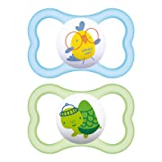 MAM Air Pacifiers (2 pack), MAM Sensitive Skin Pacifier 6+ Months, Best Pacifier for Breastfed Babies, Baby Boy Pacifiers, Green and Blue