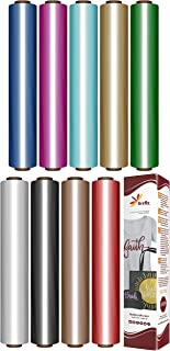 Firefly Craft Elastic Foil Heat Transfer Vinyl Bundle | Metallic HTV Vinyl Bundle | Iron On Vinyl for Cricut and Silhouette | Pack of 9 Best Selling Colors Including Gold HTV - 12
