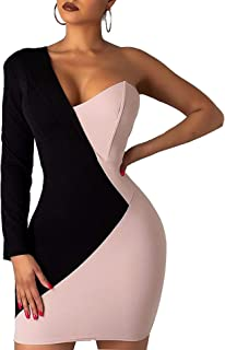 Women's Long Sleeve V Neck Colorblock One Off Shoulder Irregular Slim Sexy Bodycon Business Mini Dress