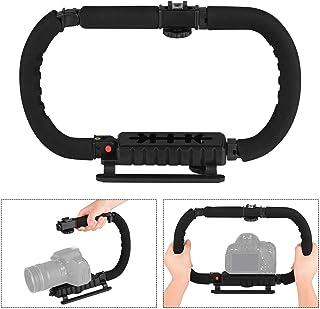 Foldable C Shaped Handheld Action Stabilizer Grip Flash Bracket Holder with Cold Shoes Non-Slip Sponge Handle Professional...