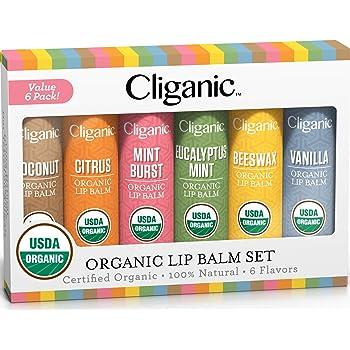 Cliganic USDA Organic Lip Balm Set - 6 Flavors - 100% Natural Moisturizer for Cracked & Dry Lips