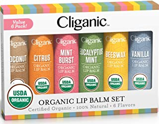 Cliganic USDA Organic Lip Balm Set - 6 Flavors - 100% Natural Moisturizer for Cracked & Dry Lips