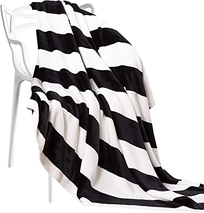 NTBAY Flannel Throw Blankets Super Soft with Black and White Stripe (51x 67)