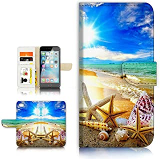 (For iPhone 8 Plus / iPhone 7 Plus ) Flip Wallet Style Case Cover, Shock Protection Design with Screen Protector - B31008 Beach Starfish Sea
