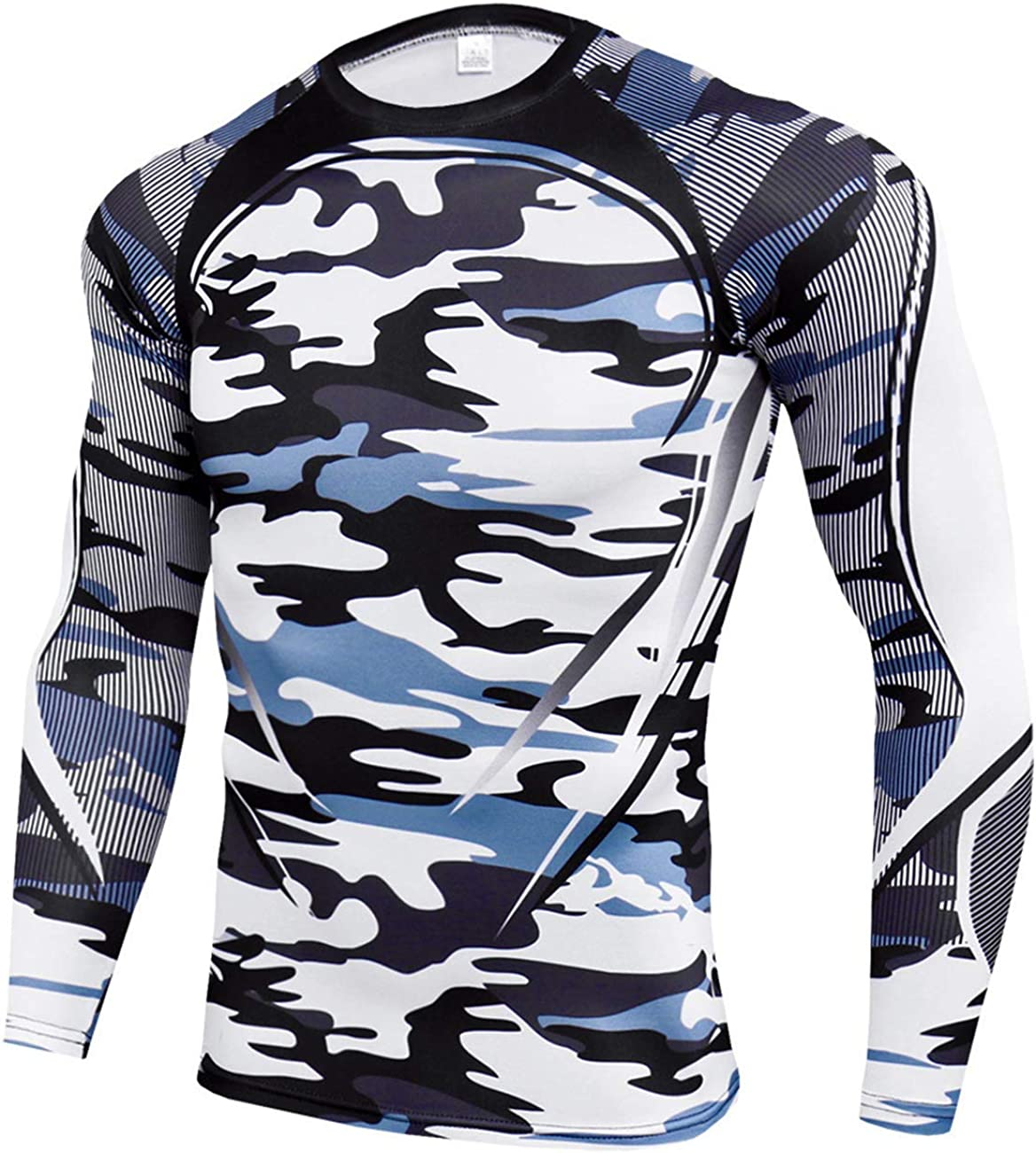 CANGHPGIN Mens Compression Shirts Cool Dry Fit Long Sleeve T-Shirt Athletic Sports Baselayer Workout Running Shirt