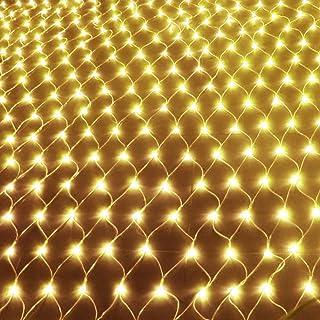 Weihnachten Hochzeit mit Stecker IP44 Innen und Au/ßen Warmwei/ß LED Lichternetz Lichtervorhang 1.5 * 1.5 Meter f/ür Weihnachten Deko Party Festen