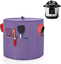 Yarwo Dust Cover for 6 qt Instant Pot, Cover with Pockets and Top Handle for 6 Quart Pressure Cooker and Kitchen Tools, Purple