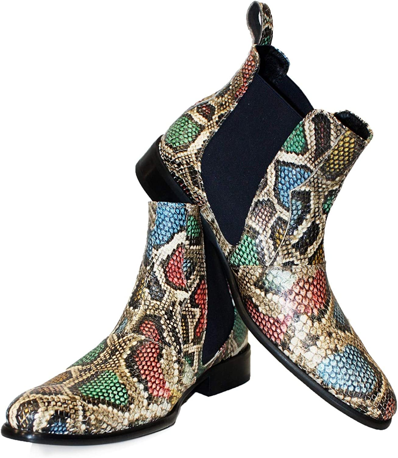 Peppeshoes Modello Rena - Handmade Italian Leather Mens color colorful Ankle Chelsea Boots - Cowhide Embossed Leather - Slip-On