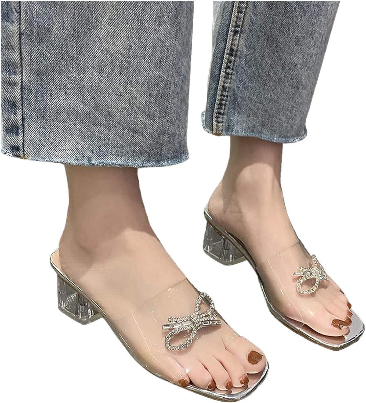 HIRIRI Women's Clear Max 62% OFF Strap Bowknot Heel Sandals Chunky Crystal Fashionable N