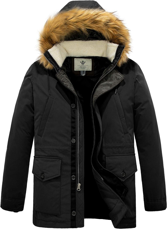WenVen Men's Winter Waterproof Thickened Parka Jacket