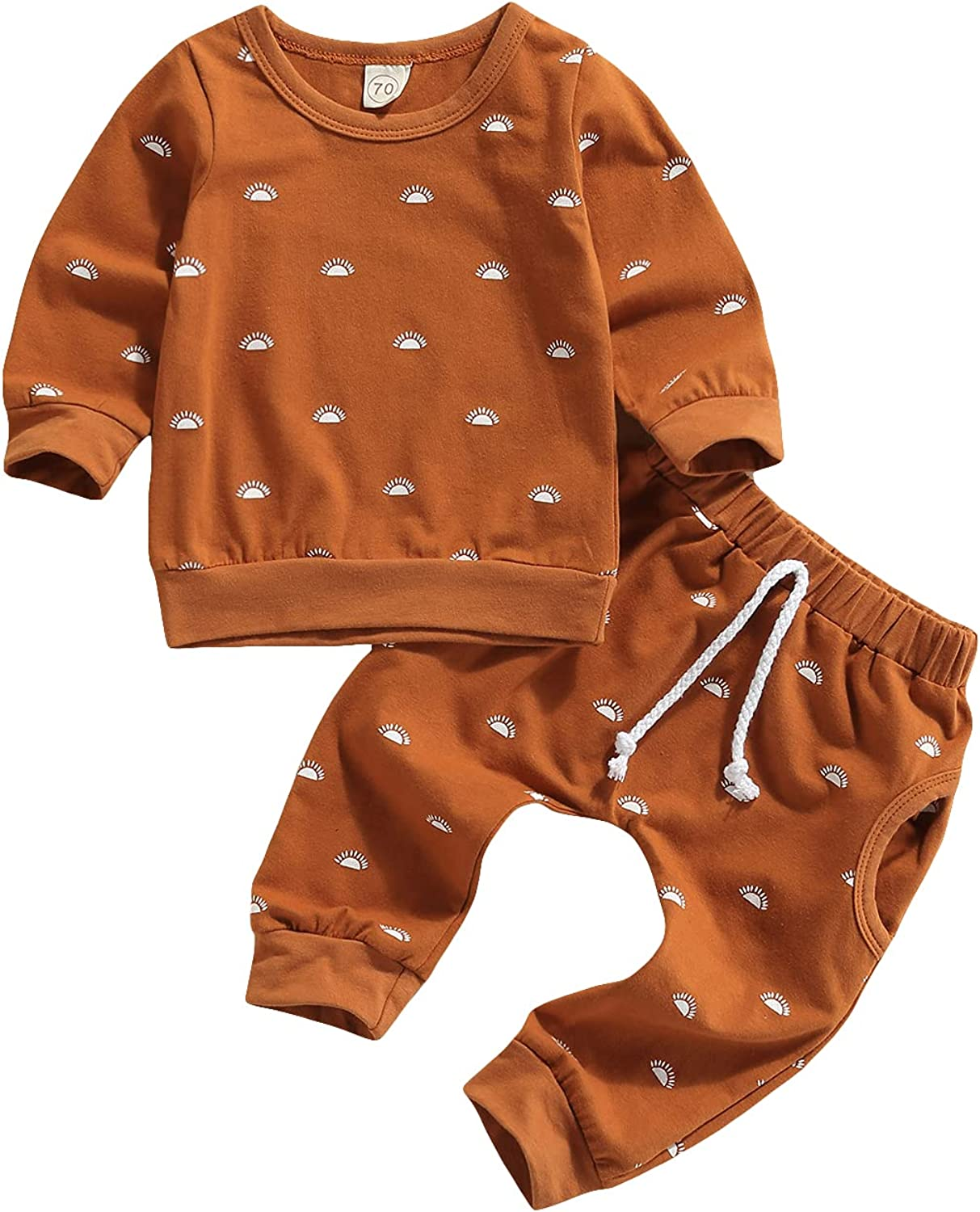 DBZoo Infant Newborn Baby Boy Girl Clothes Long Sleeve Crew Neck Cotton T-Shirt Tops+Pants 2 Piece Fall Outfits Set