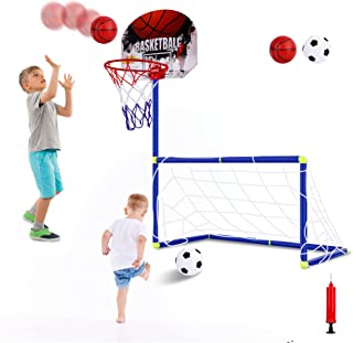FiGoal 2IN1 Basketball Hoop and Soccer Net in One Set Portable Exercise Set for Kids for Indoor Outdoor Basketball Game So...