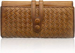 Wallets for Women Leather Handmade Purse Ladies Woven Wallet Card Holder