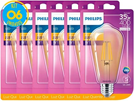 Lâmpada Led Filamento Retro Vintage 4w ST64 Philips Kit 6 pç