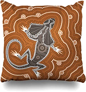 Ahawoso Throw Pillow Cover Bush Australian Based On Aboriginal Dot Abstract Native Australia Painting Outback Lizard Map Design Home Decor Pillowcase Square Size 18 x 18 Inches Zippered Cushion Case