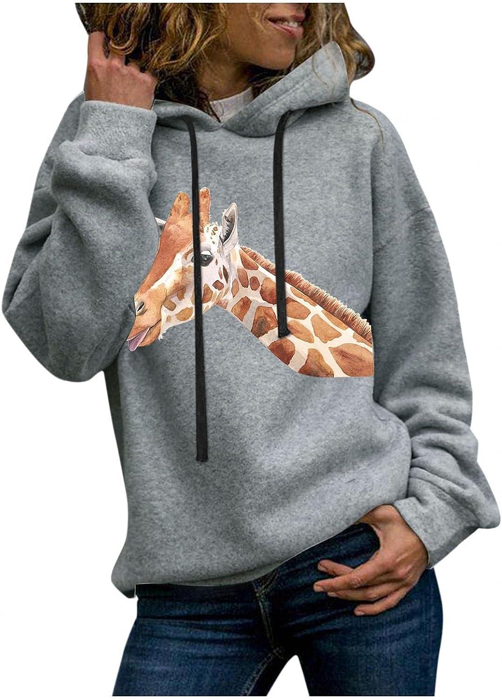 Toeava Womens Hoodies Sweatshirts Casual Long Sleeve Funny Graphic Giraffe Sweatshirt Fashion Pullover Jumper Shirts