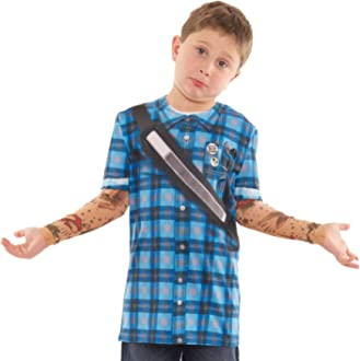 Faux Real Youth 3D Photo-Realistic Long Sleeve Mesh Tattoo T-Shirt