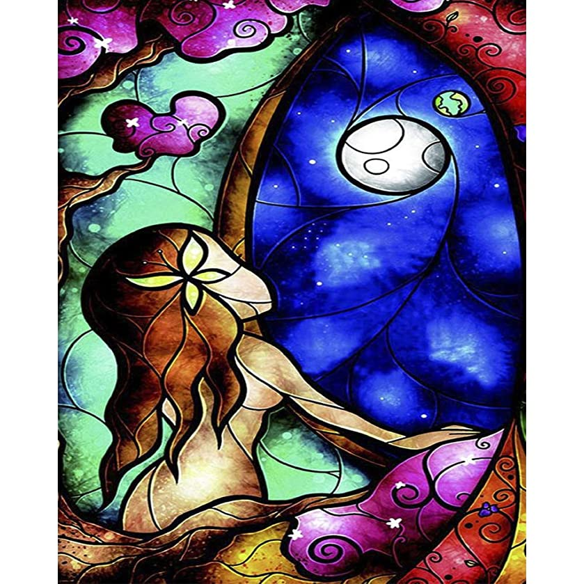 Lapoea DIY Oil Painting Paint by Number Kits Painting for Adults and Kids Arts Craft for Home Wall Decor Girl and Moon 40x50CM