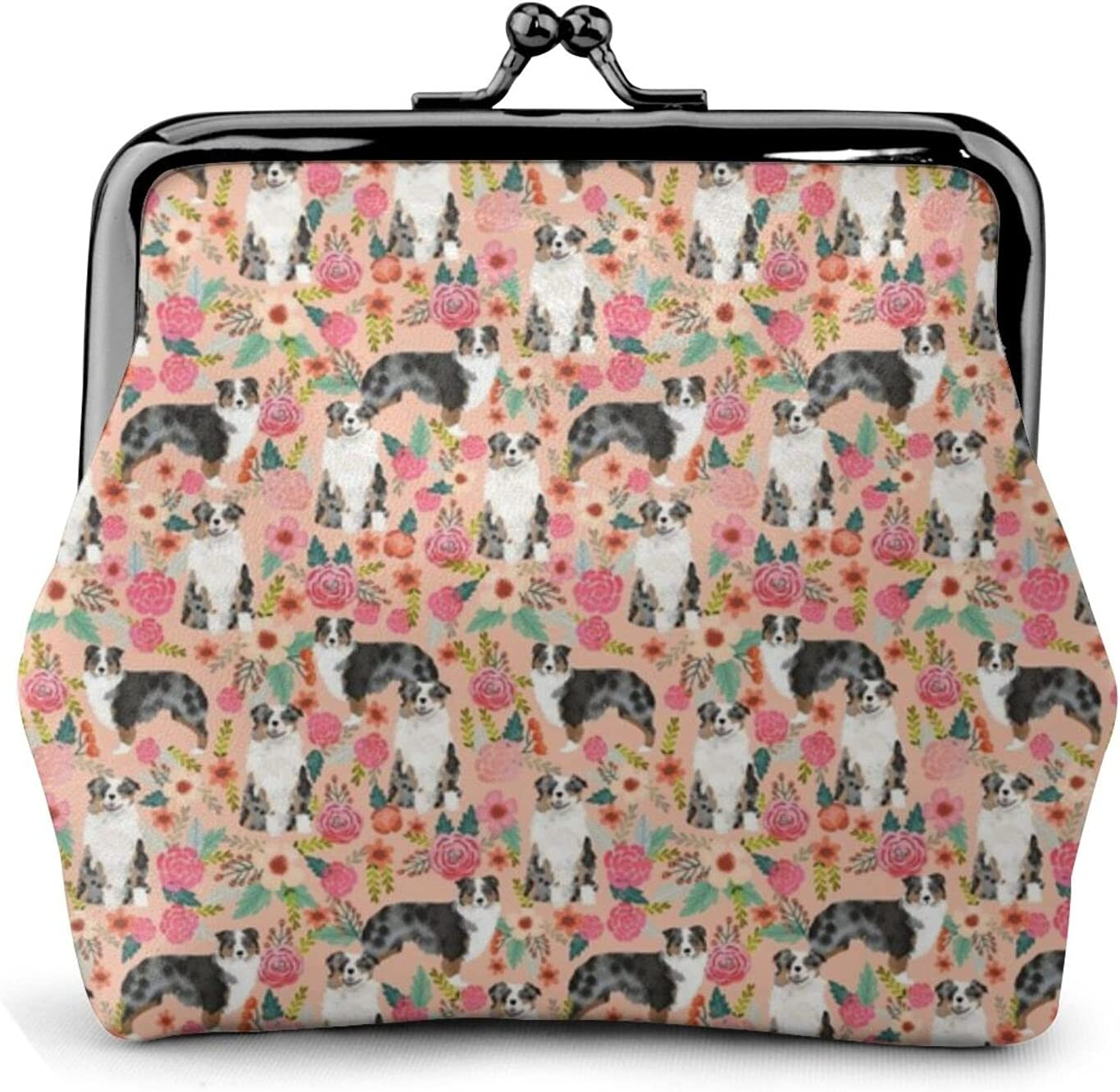 Australian Shepherd Florals 170 Coin Purse Retro Money Pouch with Kiss-lock Buckle Small Wallet for Women and Girls