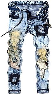 [FOMANSH] ジーパン メンズ デニムパンツ ヴィンテージ風 ジーンズ 刺繍 ダメージ加工 ウォッシュ加工 クラッシュ スキニー パンツ