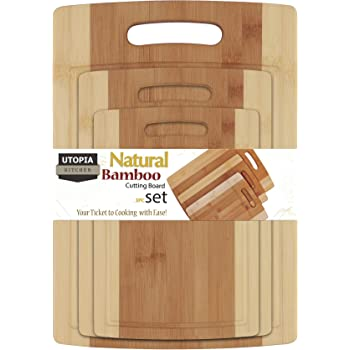 Utopia Kitchen 3 Piece Natural Organic Bamboo Cutting Boards with Juice Grooves - BPA Free - Eco-friendly - Bamboo Chopping Boards for Vegetables, Meat and Cheese