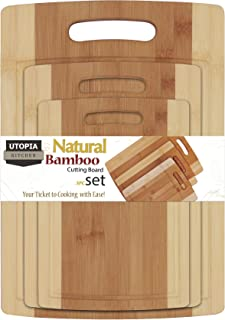 Utopia Kitchen 3 Piece Natural Organic Bamboo Cutting Boards with Juice Grooves - BPA Free - Eco-friendly - Bamboo Choppin...