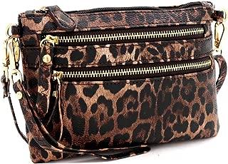 Leopard Print Vegan Leather Tassel Accent Multi Pocket Medium Size Crossbody Messenger Bag