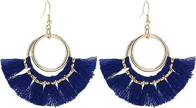 BaubleStar Tassel Hoop Earrings Fringe Drop Gold Tone Circle Tiered Earrings for Women Girls